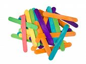 image of popsicle  - Bunch of colourful popsicle sticks for arts and crafts on white background - JPG