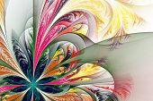 stock photo of asymmetric  - Diagonal asymmetrical multicolor fractal tracery - JPG