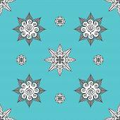 stock photo of mehndi  - Folk Inspired Turquoise Wallpaper with mehndi elements - JPG