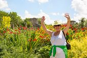 pic of grandma  - Trendy joyful Grandma outdoors in her garden laughing and waving her hands in the air in front of a bed of colorful summer flowers - JPG