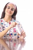 happy nurse with bottled water
