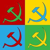 pic of communist symbol  - Pop art hammer and sickle symbol icons - JPG