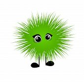 picture of hairy  - Green cute hairy monster on white background - JPG