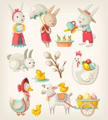 picture of mother goose  - Colorful images of Easter characters and animals for spring holiday - JPG