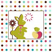 pic of poka dot  - Easter rabbit and bird  - JPG