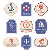 picture of nostalgic  - Vintage nostalgic nautical adventures voyage travel agency old marine  decorative emblems labels collection  abstract isolated vector illustration - JPG
