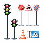 foto of traffic sign  - Traffic sign and lights realistic 3d decorative icons set isolated vector illustration - JPG