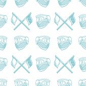 picture of paintball  - Seamless monochrome vector pattern with blue paintball helmets and teams flags on white background - JPG