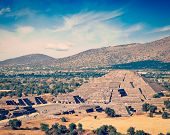 image of pyramid  - Vintage retro effect filtered hipster style image of famous Mexico landmark tourist attraction  - JPG
