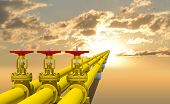 picture of gas-pipes  - Three industrial pipes for gas transmission - JPG