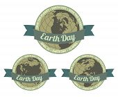 foto of save earth  - Set of globes with Earth day written inside old style banner and Save the planet slogan around - JPG