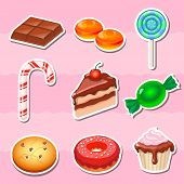 image of candy cotton  - Set of colorful various candy - JPG