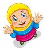 picture of muslim kids  - Close up happy muslim girl smiling - JPG