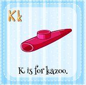 image of letter k  - Flash card letter K is for kazoo - JPG