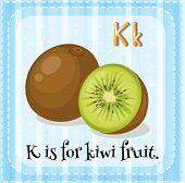 stock photo of letter k  - Flash card letter K is for kiwi fruit - JPG