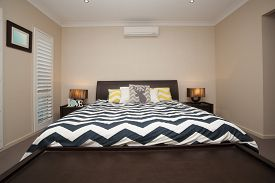 image of master bedroom  - Master bedroom with king size bed and air conditioning - JPG