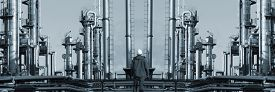 picture of refinery  - oil worker in front of giant refinery - JPG