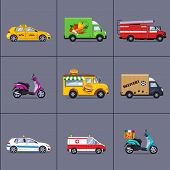 image of ice-cream truck  - Vector set of various urban and city cars and vehicles - JPG