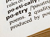 stock photo of poetry  - extreme closeup of poetry definition in a dictionary - JPG