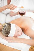 picture of day care center  - Mid section of therapist waxing womans back at spa center - JPG