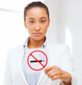 stock photo of smoking woman  - health and healthcare concept  - JPG