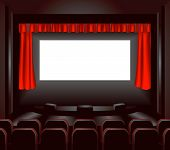 image of movie theater  - a blank cinema screen lighting up a dark movie theatre for you to place what you like on - JPG