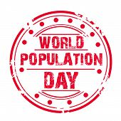 foto of population  - illustration of a grungy stamp for World Population Day - JPG