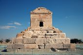 picture of shiraz  - Tomb of Cyrus The Great against blue sky in Pasargadae county near Shiraz - JPG