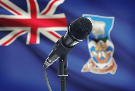 stock photo of falklands  - Microphone with national flag on background series  - JPG