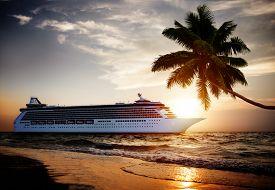 pic of passenger ship  - Yacht Cruise Ship Sea Ocean Tropical Scenic Concept - JPG