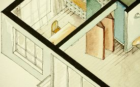 pic of freehand drawing  - Isometric partial architectural watercolor drawing of apartment condo floor plan - JPG