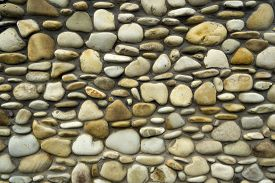 picture of old stone fence  - Photo Wall of old grey - JPG