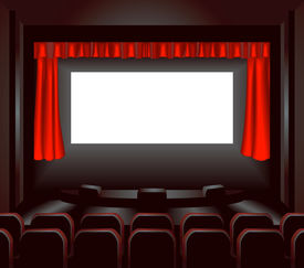 picture of movie theater  - a blank cinema screen lighting up a dark movie theatre for you to place what you like on - JPG