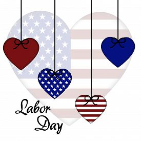 stock photo of labor  - illustration of a colorful hearts for Labor Day - JPG
