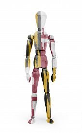 picture of maryland  - Old wood figure mannequin with US state flag bodypaint  - JPG