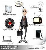 Business Man and his Environment - 3D Vector Icons