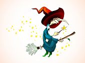 Spooky Halloween Witch holding a Magic Wand, Flying on a Broom - Detailed Vector Illustration