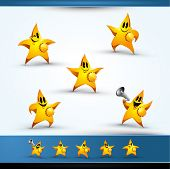 5 Star Character Icons, Pointing Left and Right, Smiling, Blinking, and Making Announcement in a Meg