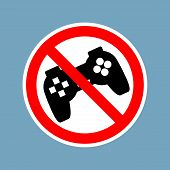 Stop Video Games. Ban Gamepad Red Sign. Prohibited Joystick. Vintage Video Game Gadget. Console Acce poster
