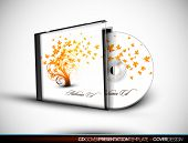 CD Flourish Cover Design with 3D Presentation Template | Everything is Organized in Layers Named Acc