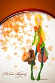 Autumn Shopping with Beautiful Woman holding Bag | Falling Leafs