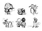 foto of underage  - Hand Drawn Sketchy Comic Elements of Playful Children - JPG