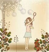 kleine Mädchen Blasen Blasen
