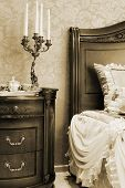 candlestick from the bed in the bedroom