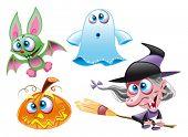 Vector Characters - Halloween - Witch, Ghost, Bat, Pumpkin
