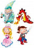 Vector personaje - edad media - Príncipe, princesa, mago, Dragón