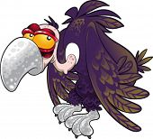Baby vulture. Funny cartoon and vector character