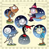 Horror Family. Funny cartoon and vector Halloween characters