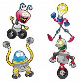 Family of Robots. Funny cartoon and vector characters