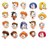 Funny faces. Cartoon and vector isolated objects